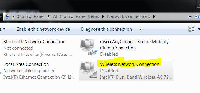 Wifi connection disabled