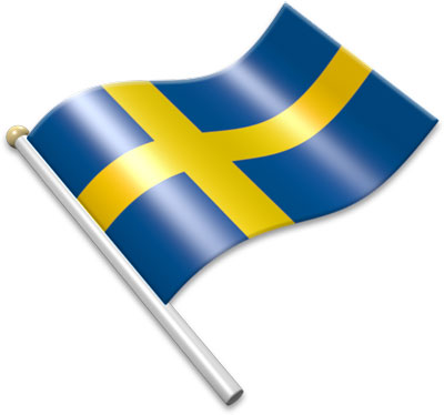 The Swedish flag on a flagpole clipart image