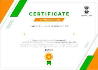 Celebration Of Aazadi Ka Amrut Mahotsav (AKAM) GR   Certificate Link - Rashtragaan.in