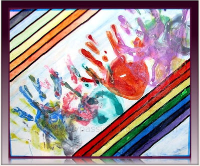 Use masking tape to create a rainbow painting