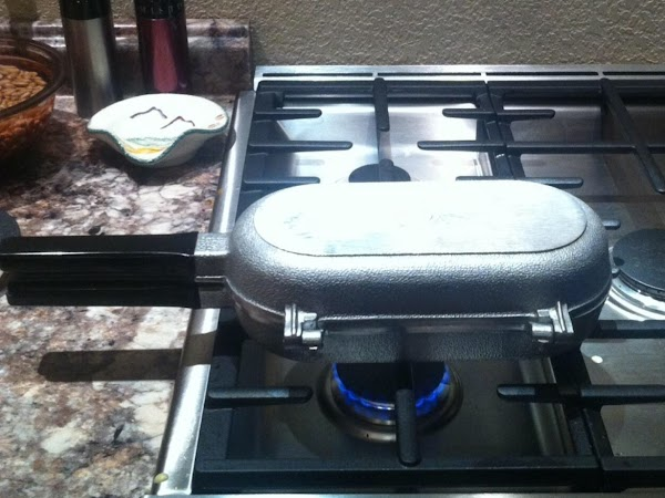 Cornbread cooking.  Note low flame.  This is medium low on my stovetop.