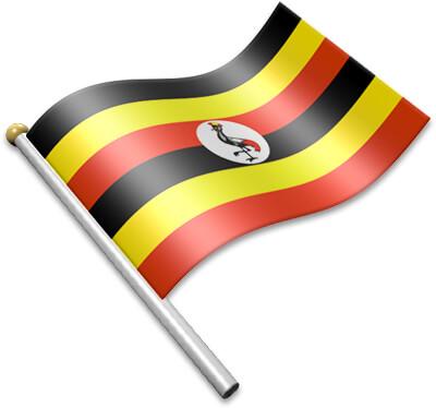 The Ugandan flag on a flagpole clipart image