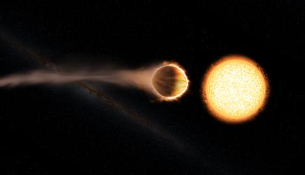 ilustração do WASP-121b com presença de uma estratosfera