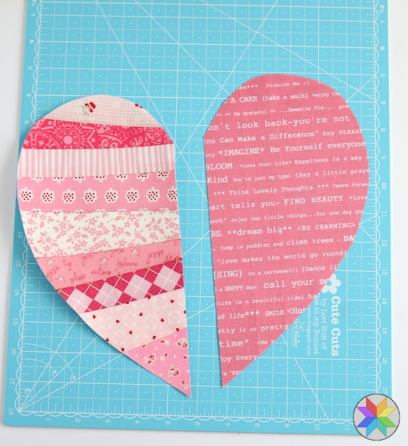 Scrappy heart quilt block tutorial by Andy of A Bright Corner