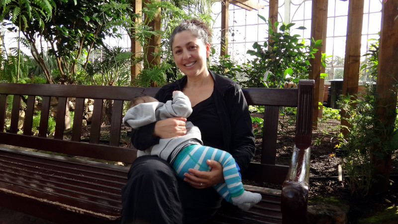 Breastfeeding in the People's Palace Greenhouse in Glasgow