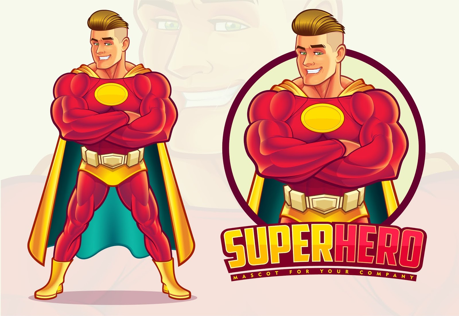 Handsome Superhero Mascot Free Download Vector CDR, AI, EPS and PNG Formats