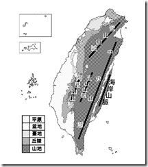 臺灣地形分布圖_黑白_山脈