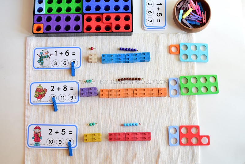 Addition Clipcards with Manipulatives