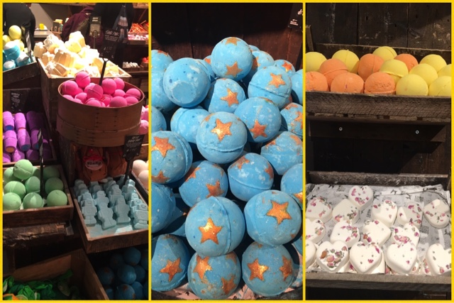 selection of bath bombs on sale at lush
