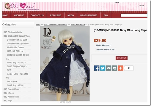 [D2-MSD] MD108001 Navy Blue Long Cape