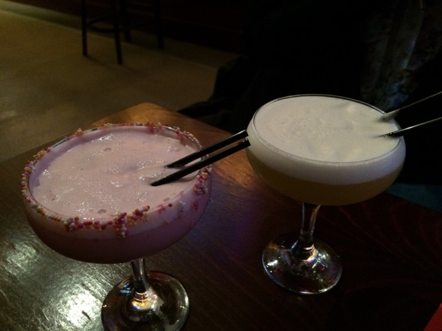 Two Cocktails from Bread + butter in Glasgow on a wood table