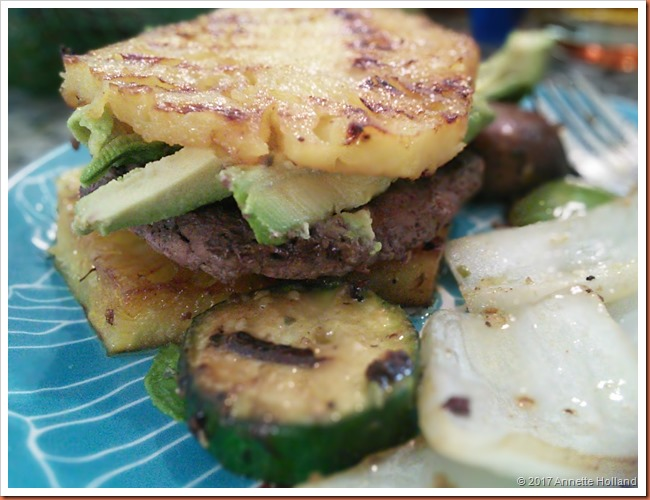 "#whatsfordinner (Grass fed organic) beef patties (couldn't find bison or turkey at TJs) on grilled pineapple ""buns"" and instead of the much craved sweet potato fries I went with half a veggie kabob."