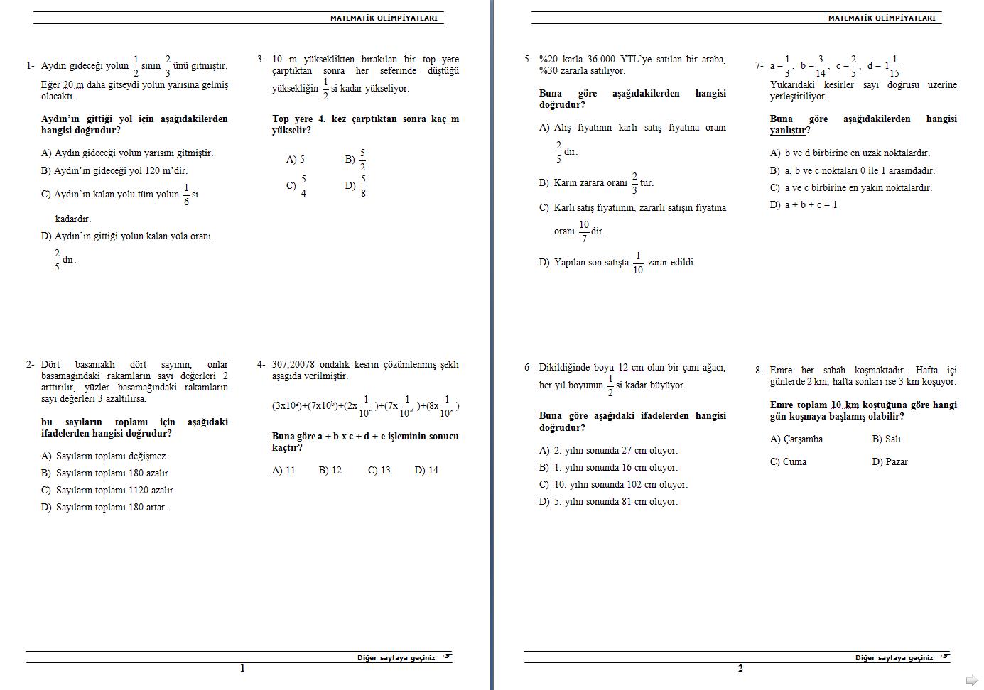 Sınıf matematik olimpiyat soruları