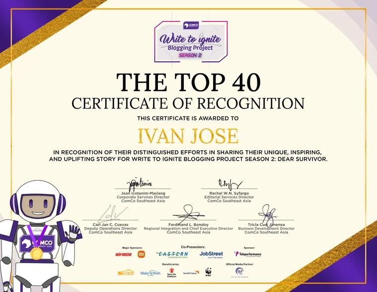 Write to Ignite Blogging Project Season 2 top 40 finalists certificate