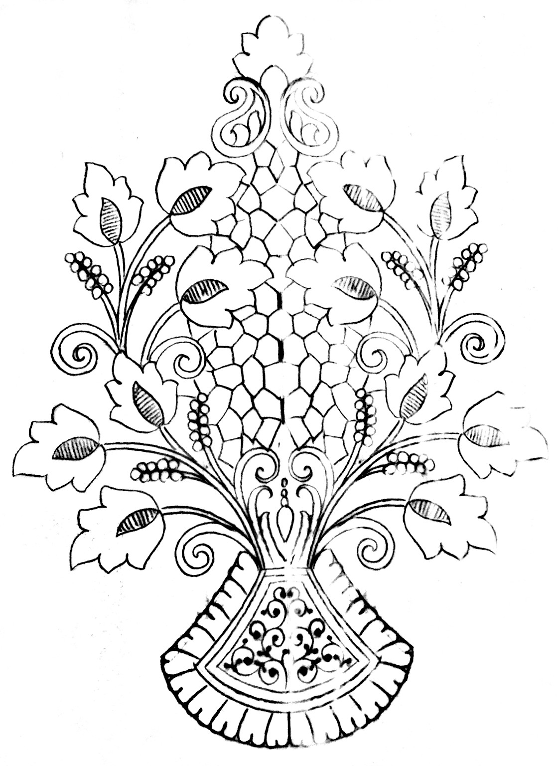 Free hand embroidery images download/Butta embroidery flowers design drawing on tracing paper.