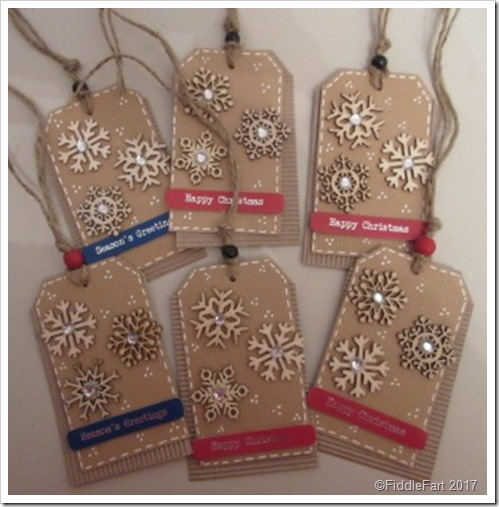 Wooden snowflake tags..