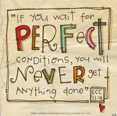If you wait for perfect conditions, you will never get anything done ~~ Ecclesiastes 11:4