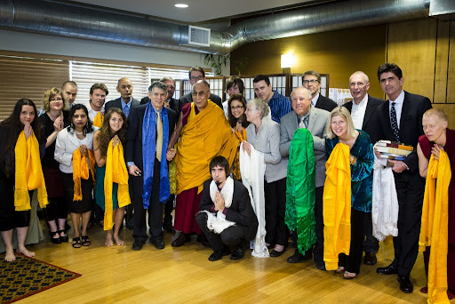 His Holiness the Dalai Lama and Tenzin Ösel Hita with FPMT International Office board members and staff, Portland, Oregon, U.S., May 10, 2013. Photo by Leah Nash.