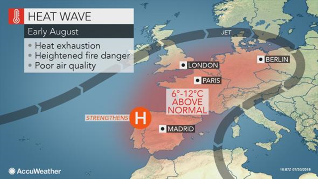 Map of Europe showing the heat wave for the week of 30 July 2018. Graphic: AccuWeather