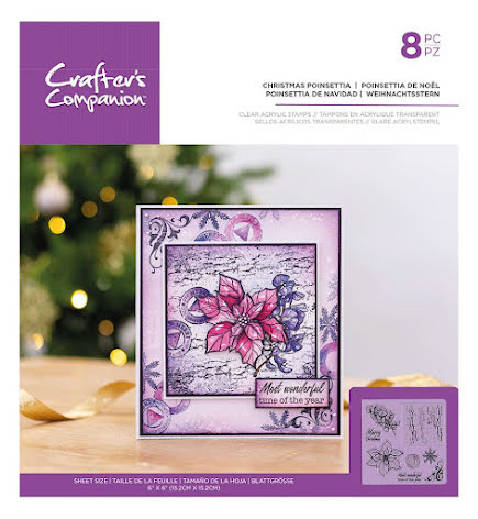 Crafters Companion Clear Acrylic Stamp - Christmas Poinsettia