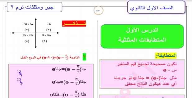 اقوى مراجعه لدرس المتطابقات المثلثية لمادة الجبر وحساب المثلثات للصف الأول الثانوي للفصل الدراسي الثاني 2021 للأستاذ محمد ادهم