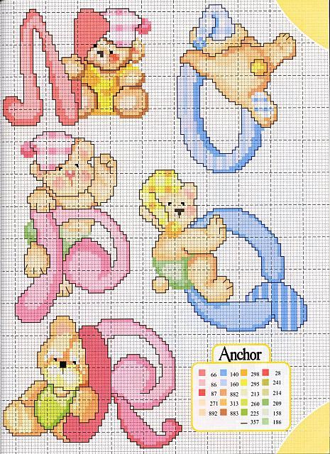 Molto lo spazio di lilla: Alfabeto a punto croce con gli orsetti, schemi  SX96
