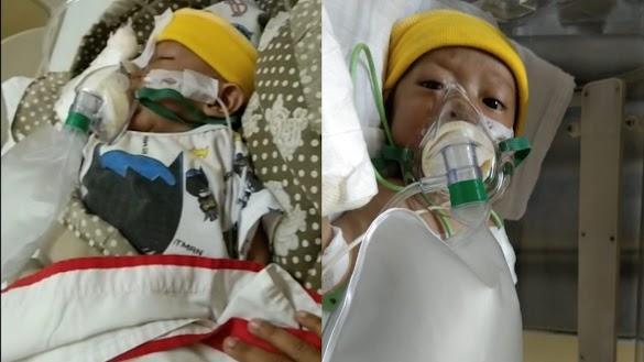 Terlahir Dengan Kondisi Jantung Bocor Sehingga Membuat Sesak Nafas, Bayi Ini Harus Sedia Mesin Oksigen, Bantu Doanya teman2 🙏