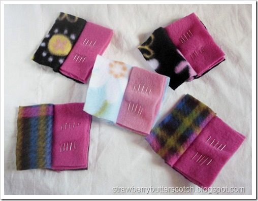 5 Needle Cases Made with Fleece