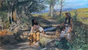 Jesus sentado junto da fonte de Jacó e a samaritana