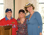 Club member Susan Minatrea, left, shows off the hat she got at the Texas Rangers' spring training; club president Jennifer Armstrong models her own presidential look; and Daryl Lynch makes it into another photo with her beer-box chapeau.