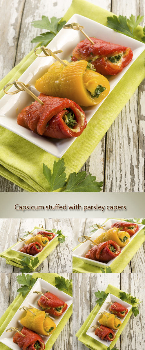 Stock Photo: Capsicum stuffed with parsley capers and anchovies
