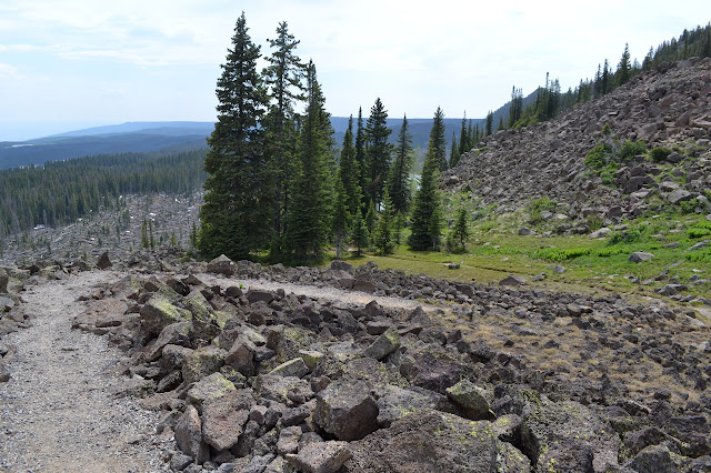 switchbacks down the hill
