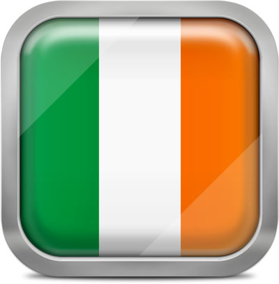 Ireland square flag with metallic frame