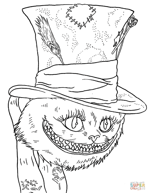 Click The Tim Burtons Cheshire Cat Coloring Pages