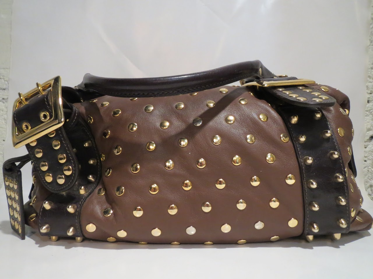 Be & D Studded Shoulder Bag
