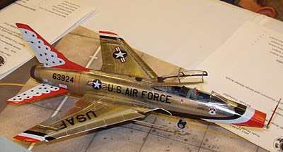 F-100 Super Sabre model in Thunderbirds aerobatic team colors
