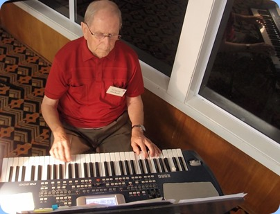 John Beales played the arrival music on his Korg Pa500. Photo courtesy of Dennis Lyons.