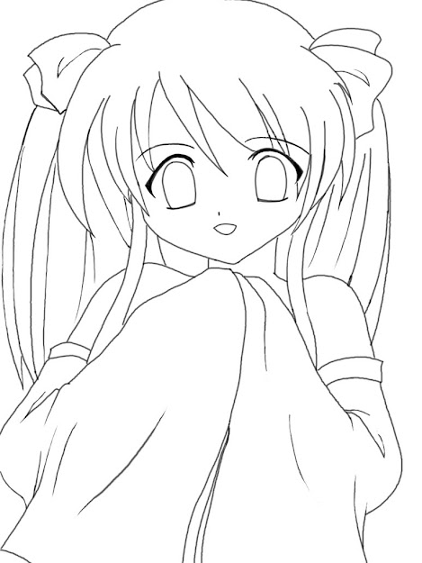 Free Coloring Pages Of Cool Anime Girl Hair
