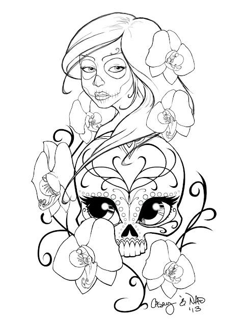 Sugar Skull Sleeve Tattoo Design By Smallesthingdeviantart On  Deviantart  This