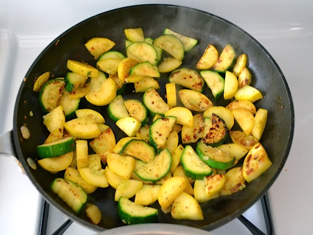 squash cooked and ready to add to rest of dish