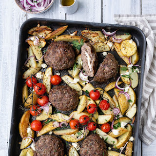 Sheet pan Greek bifteki with potatoes.