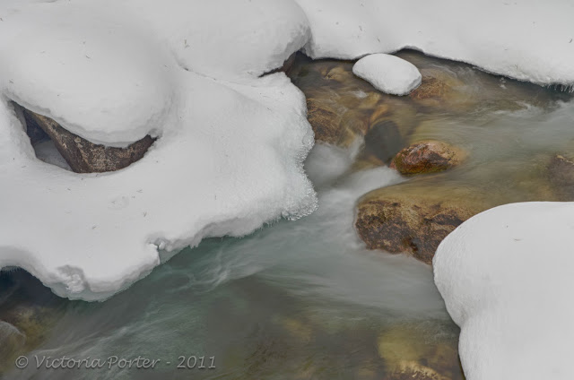 fast running water on a frozen creek