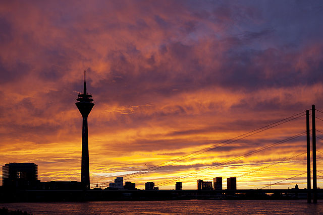Sunset colors at Dusseldorf, Germany