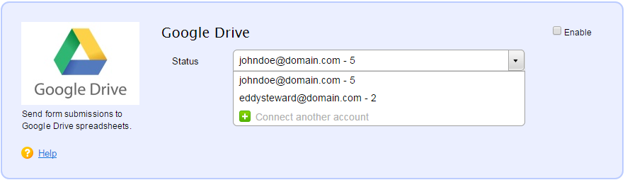 Google Drive integration for web forms