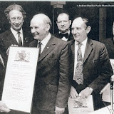 Reg Brown, Frank Hayes and Bill Hayes receiving Certificates of Service