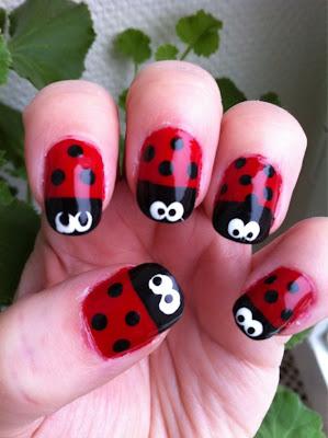 Little Miss Nailpolish Ladybug Nail Art With Eyeko Saucy Red Polish