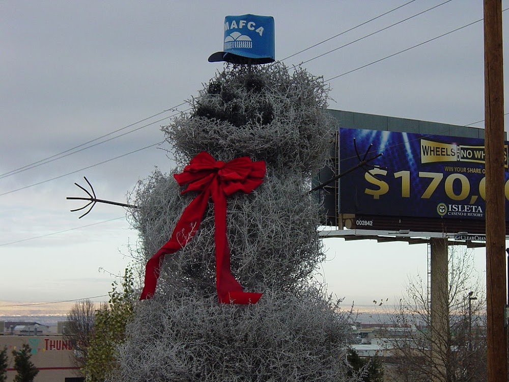Since 1995, the Albuquerque Metropolitan Arroyo Flood Control Authority has installed a snowman made of tumbleweed in downtown Albuquerque.