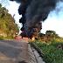 Carreta pega fogo em violenta colisão com outra em Mato Grosso e motorista morre