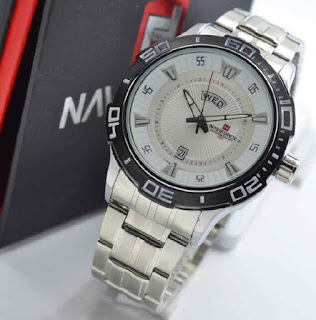 jam tangan NAVIforce Original NF9014 date day silver white