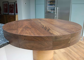 Round Kitchen Island Top - Dark wood